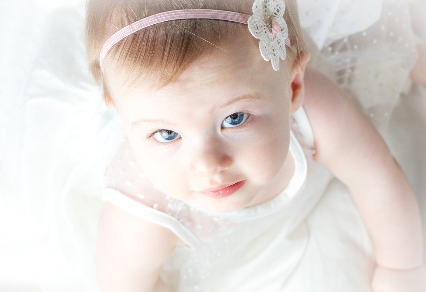 Birds eye view baby white dress image