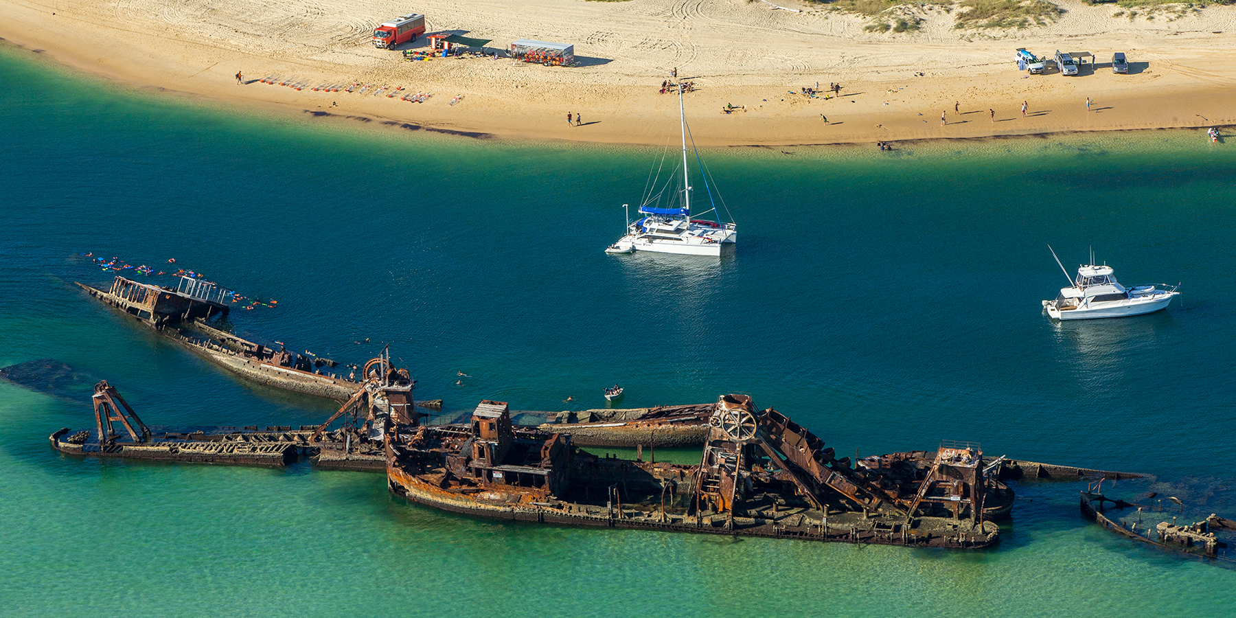 aerial image tangalooma wreck