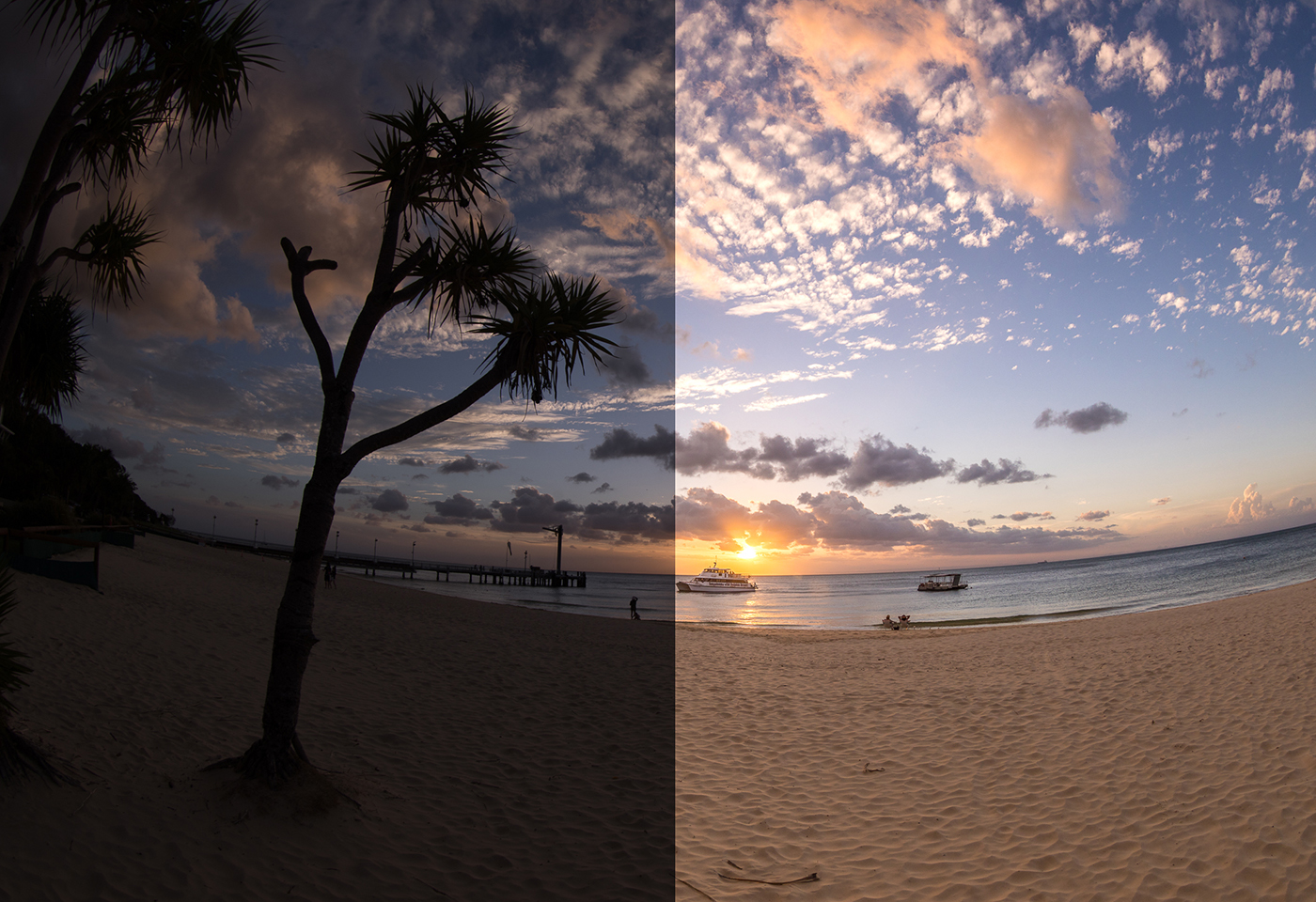 Lightroom edited fish eye image Moreton Island