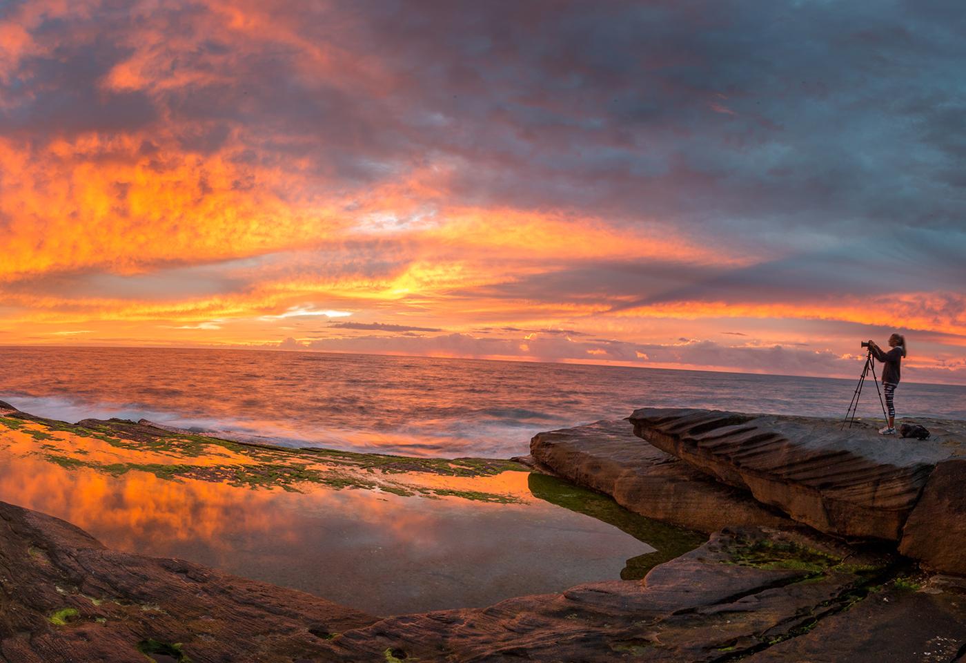 Panoramic image of sunrise at Freshwater Beach by Jenn Coooper