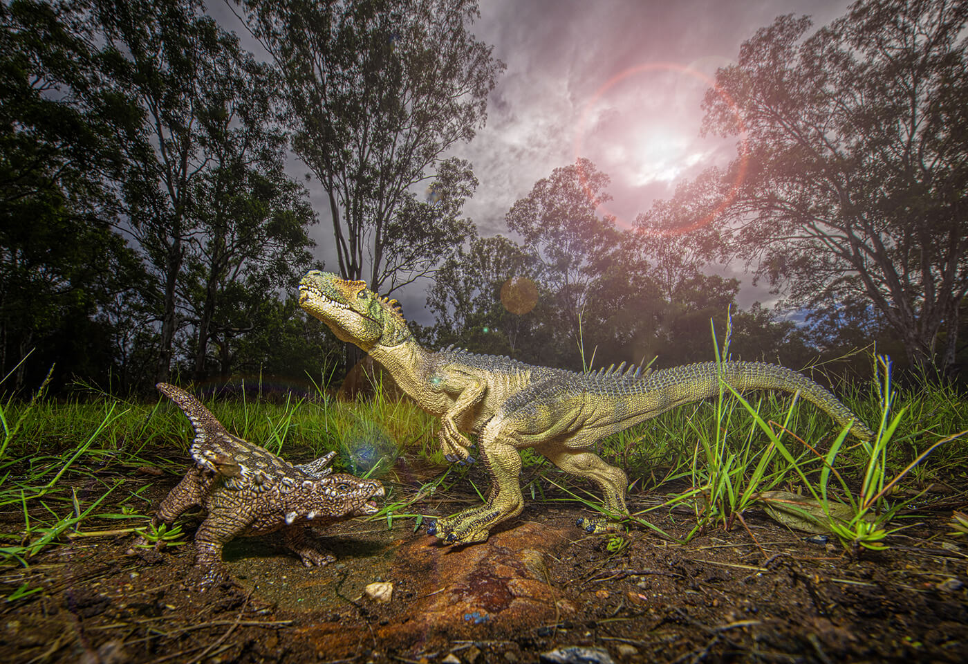 Forced perspective with toy dinosaurs