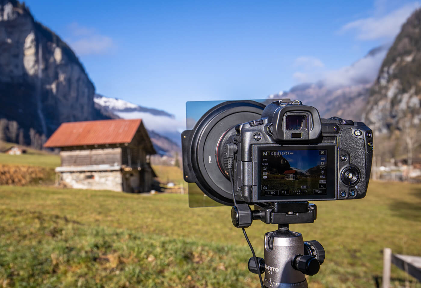 Canon Full Frame Mirrorless camera used to shoot a meadow