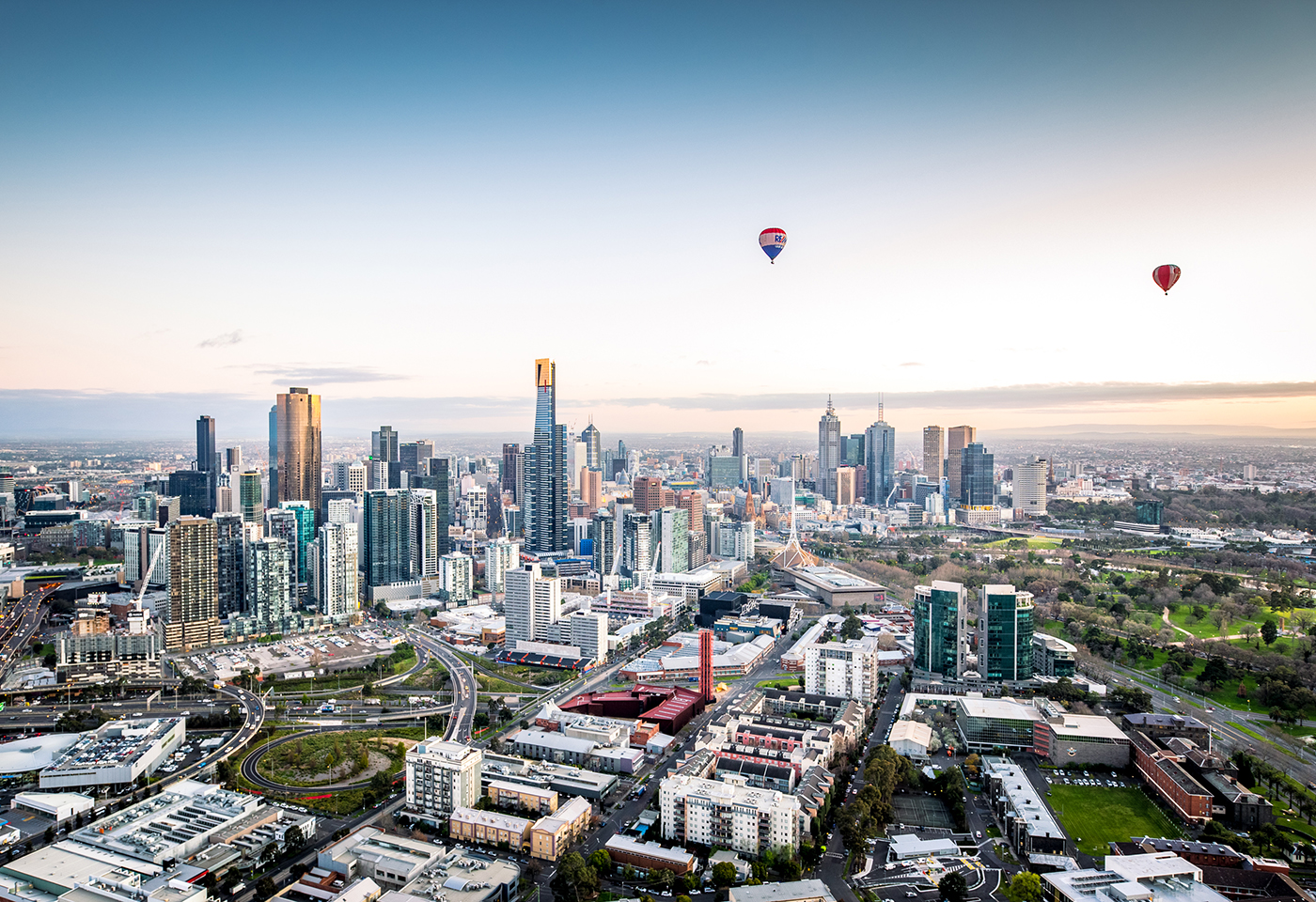 Aerial landscape image of Melbourne City by Global Ballooning