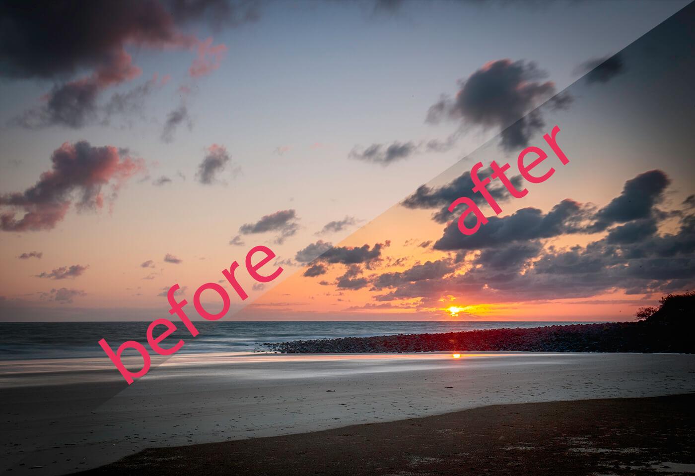 Landscape image sunset