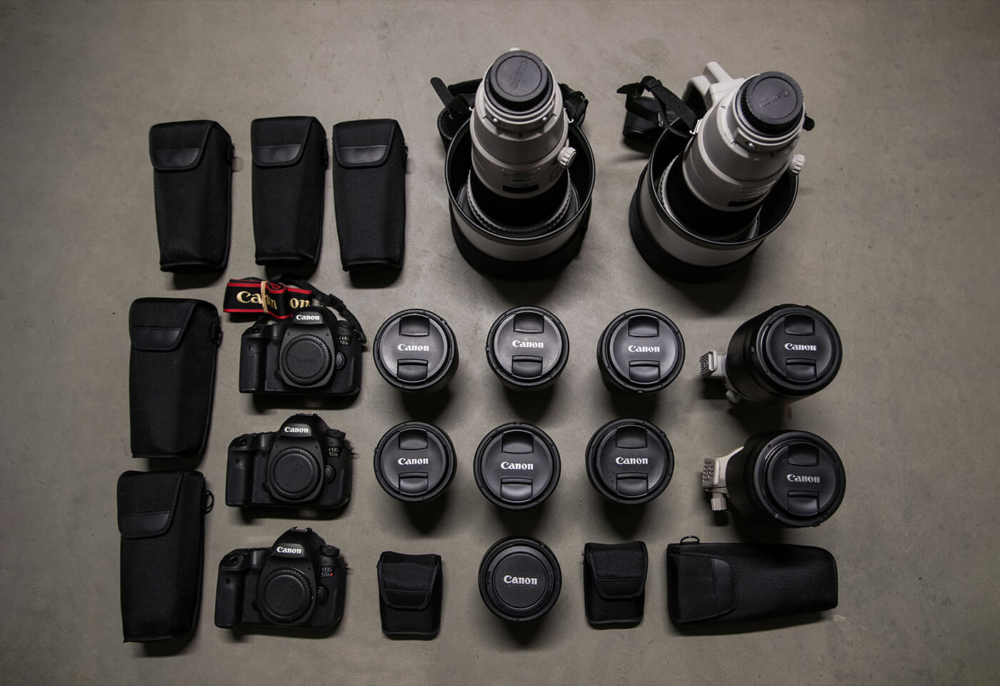 Flat lay image of Canon gear
