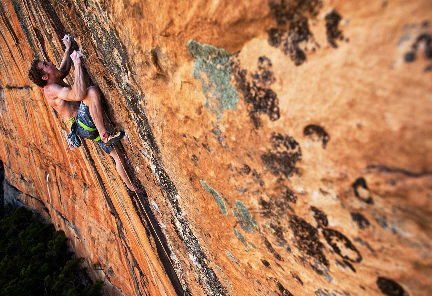 Man climbing mountain