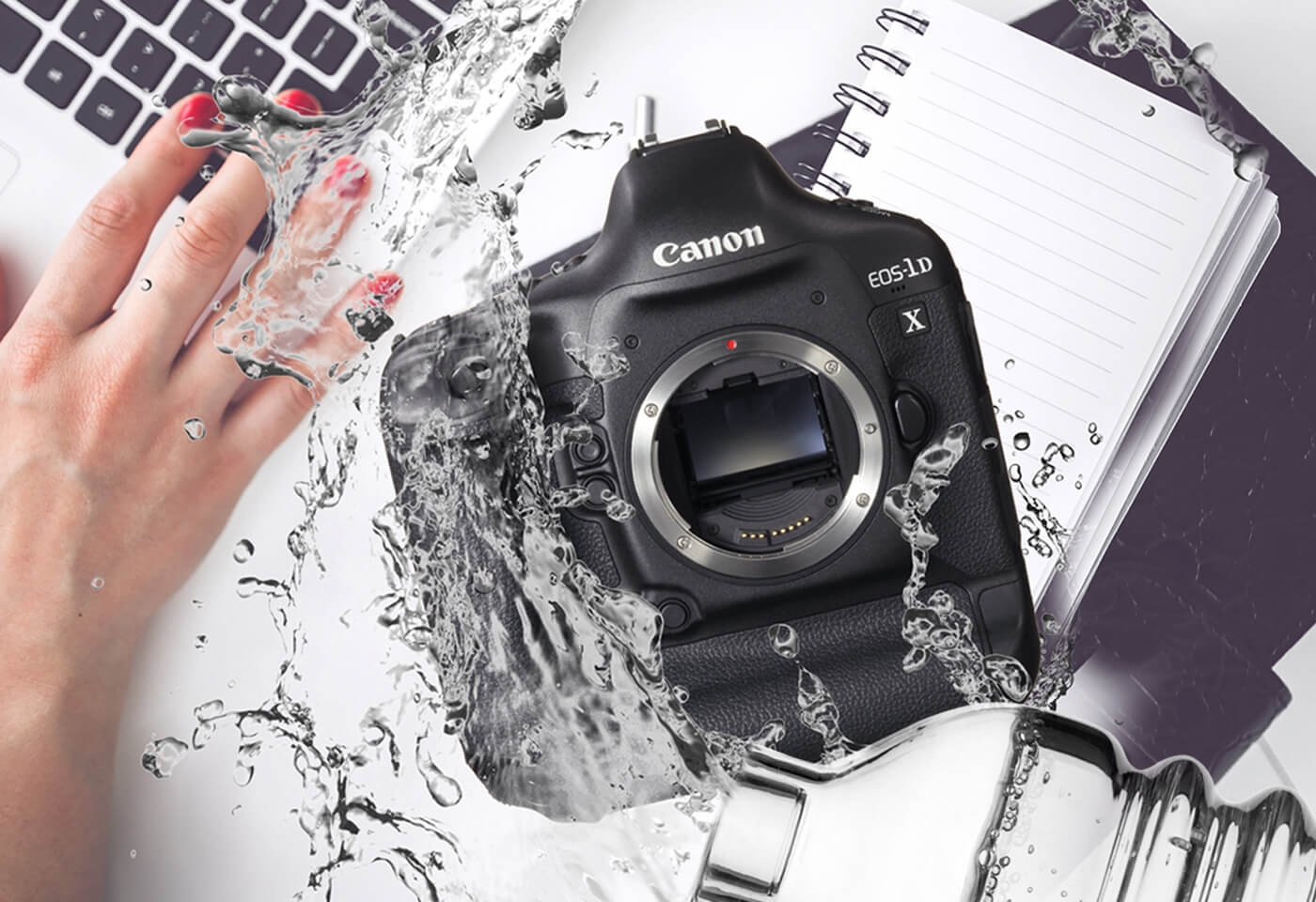 Water splashed over a Canon camera