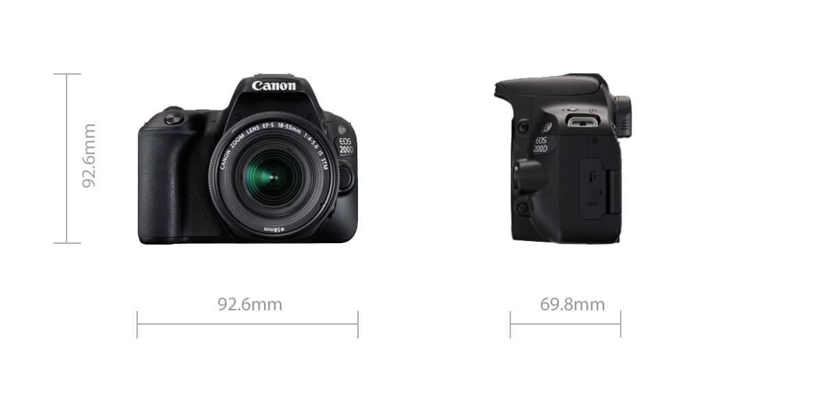 Canon EOS 200D dimensions
