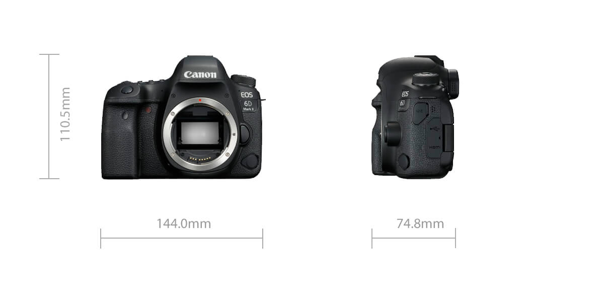 Canon EOS 6D Mark II dimensions