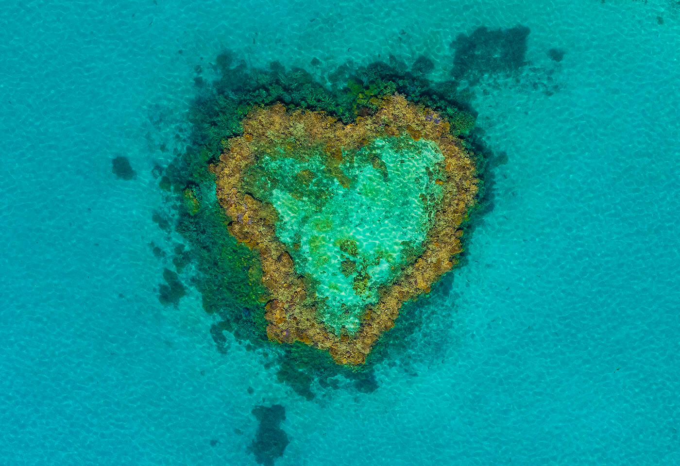 Aerial image of heart island by Josh Smith