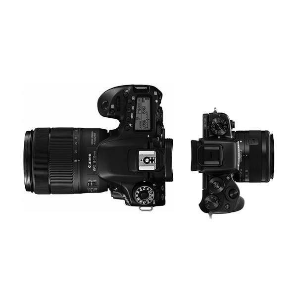 Side by side product image of DSLR and mirrorless