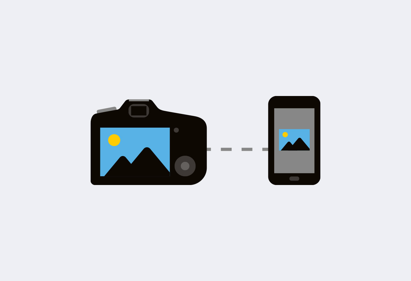 icon of camera connected to smart phone