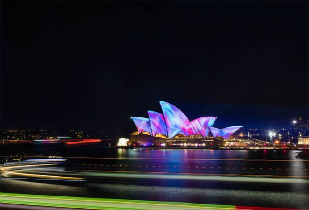 Sydney Opera House at night long exposure