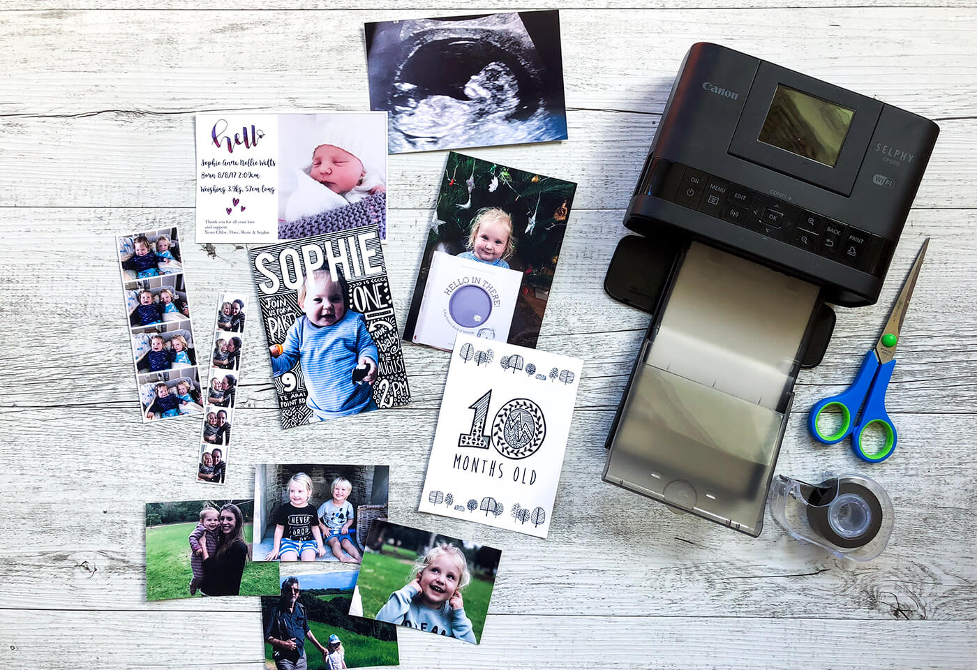 Photos, birthday cards and invitations printed on Canon Selphy printer
