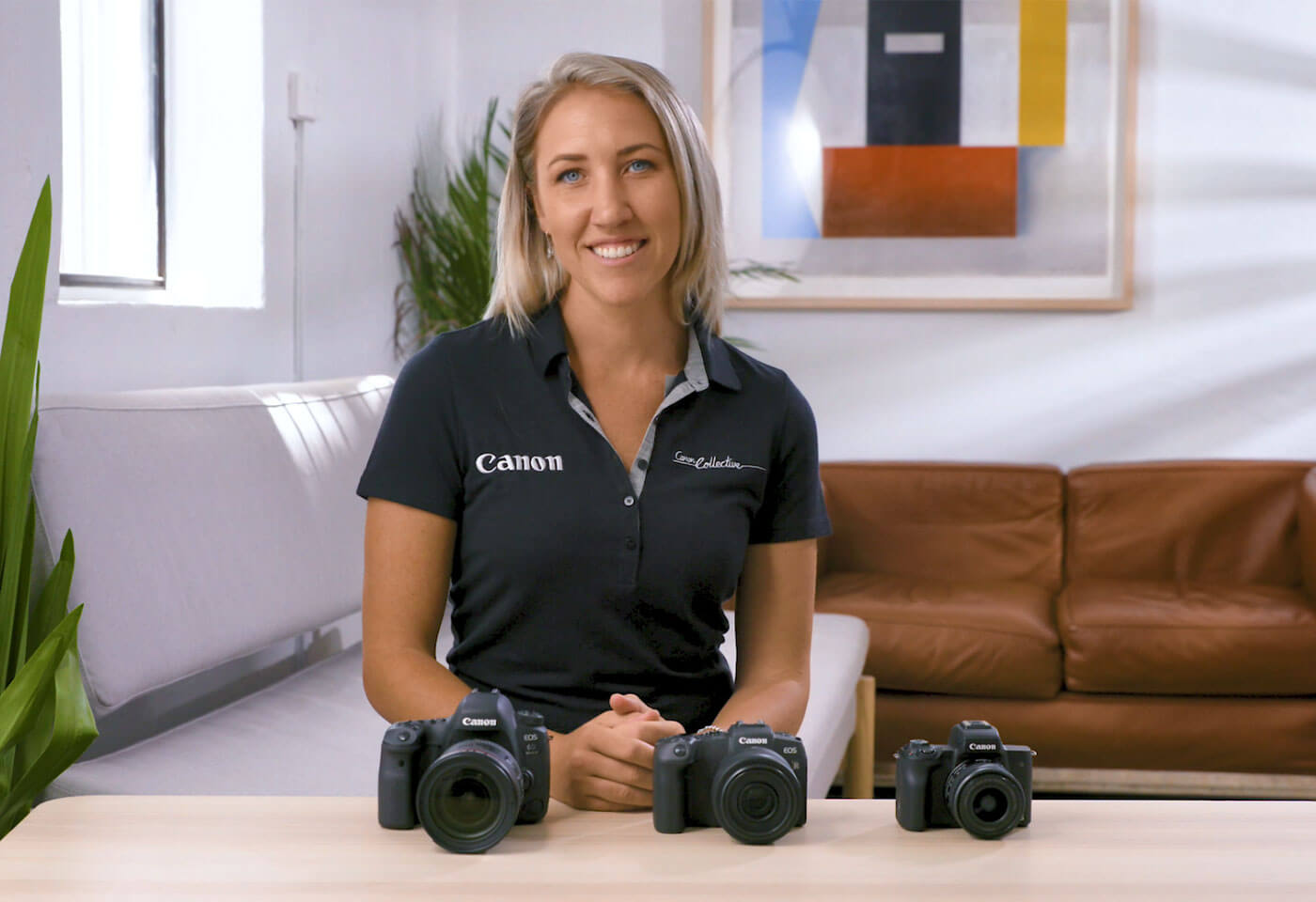 Collective Ambassador Jenn Cooper comparing EOS R, EOS M and DSLR cameras