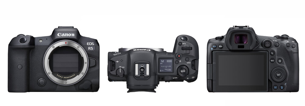 Profile image of EOS R5 front, top and back