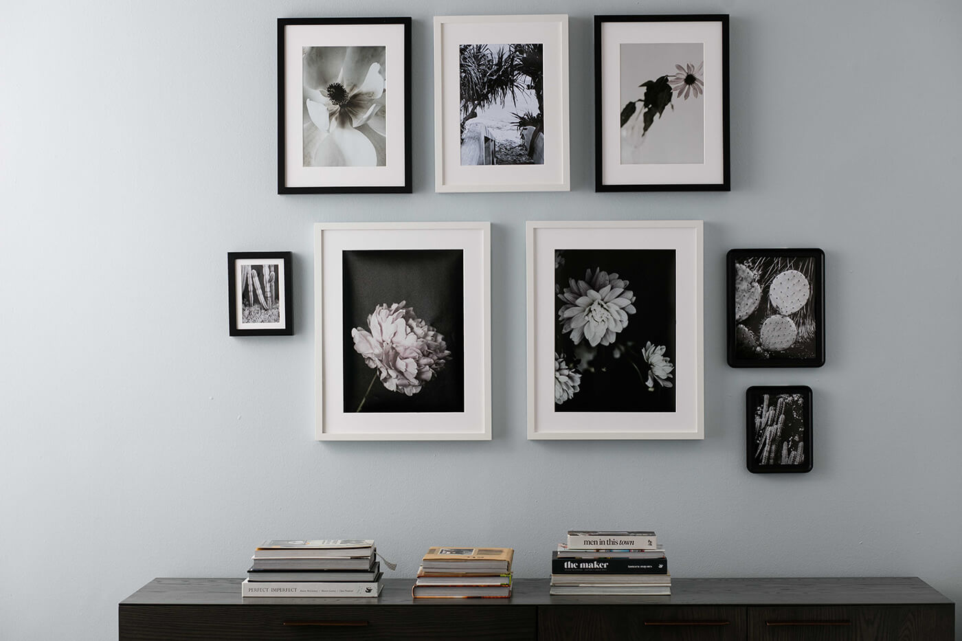 Black and white themed photo display