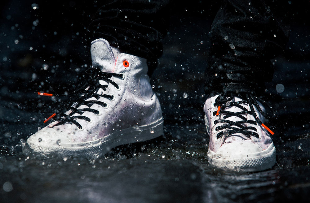 Water resistant white sneakers