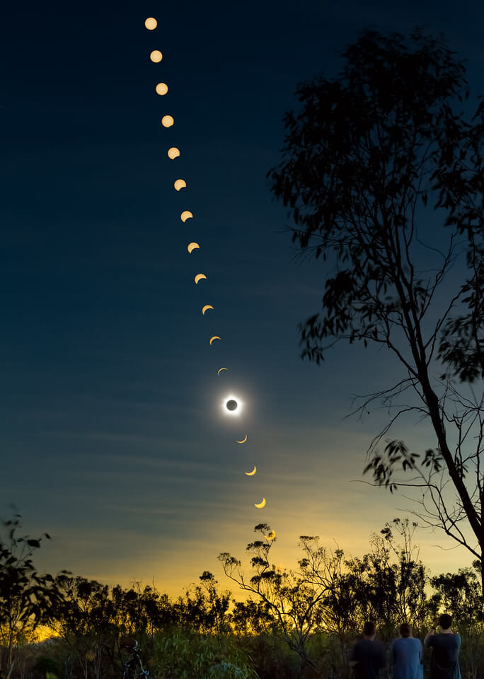 Composite image of solar eclipse by Phile Hart