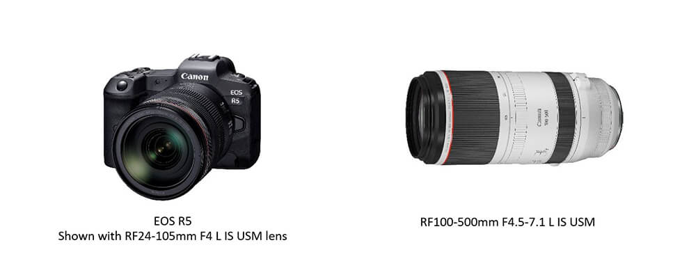 Product image of EOS R5 and RF 100-500mm f/4.5-7.1 L IS USM