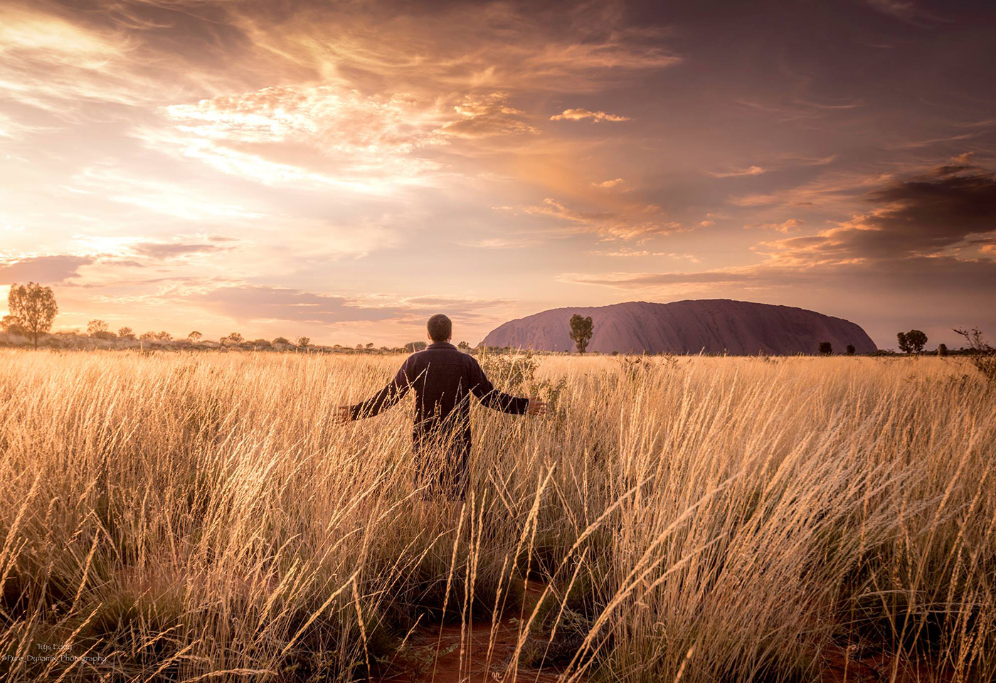 Landscape image of man standing in field