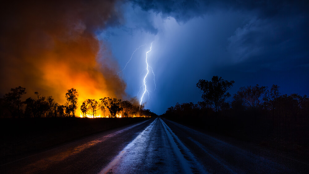 Fire and Storm at Australian outback