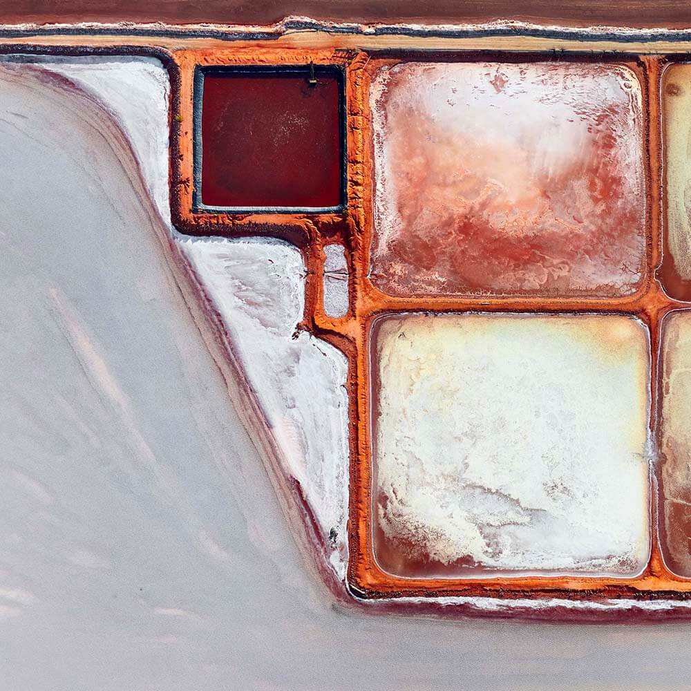 Aerial image of salt fields