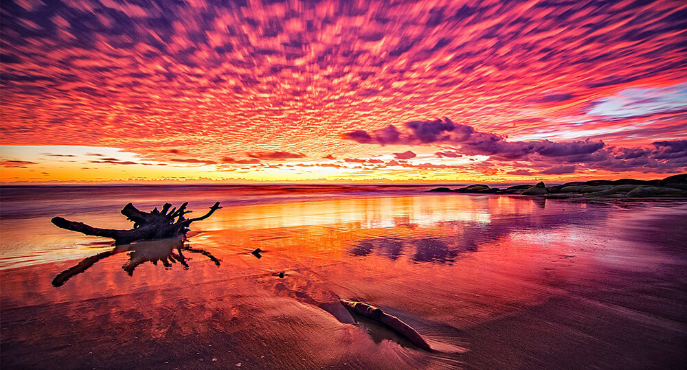 Landscape image of pink sunset