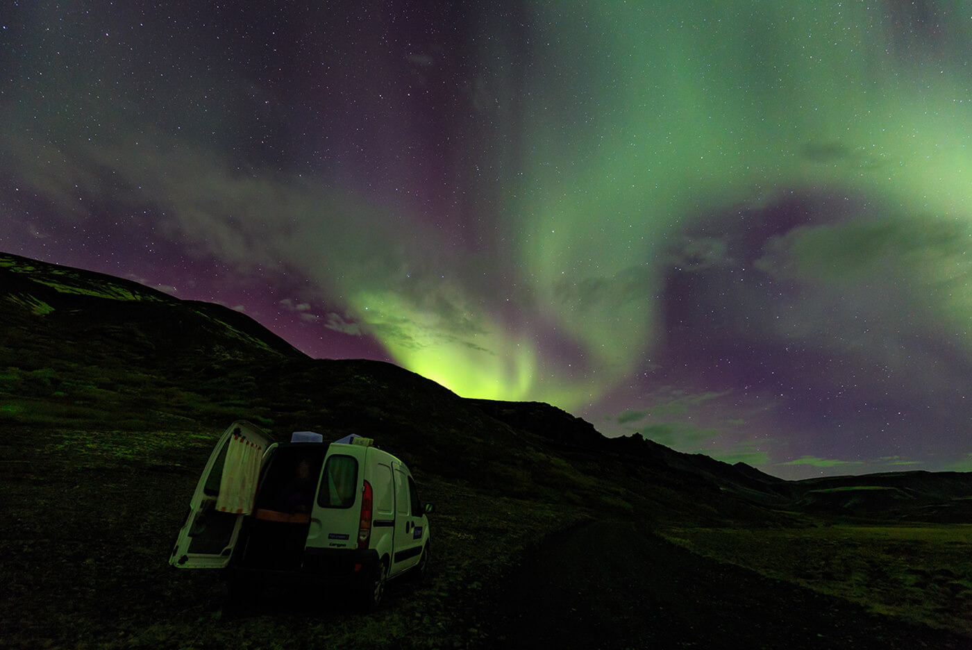 Image of Northern lights taken by photographer Mitch Pearson Coff