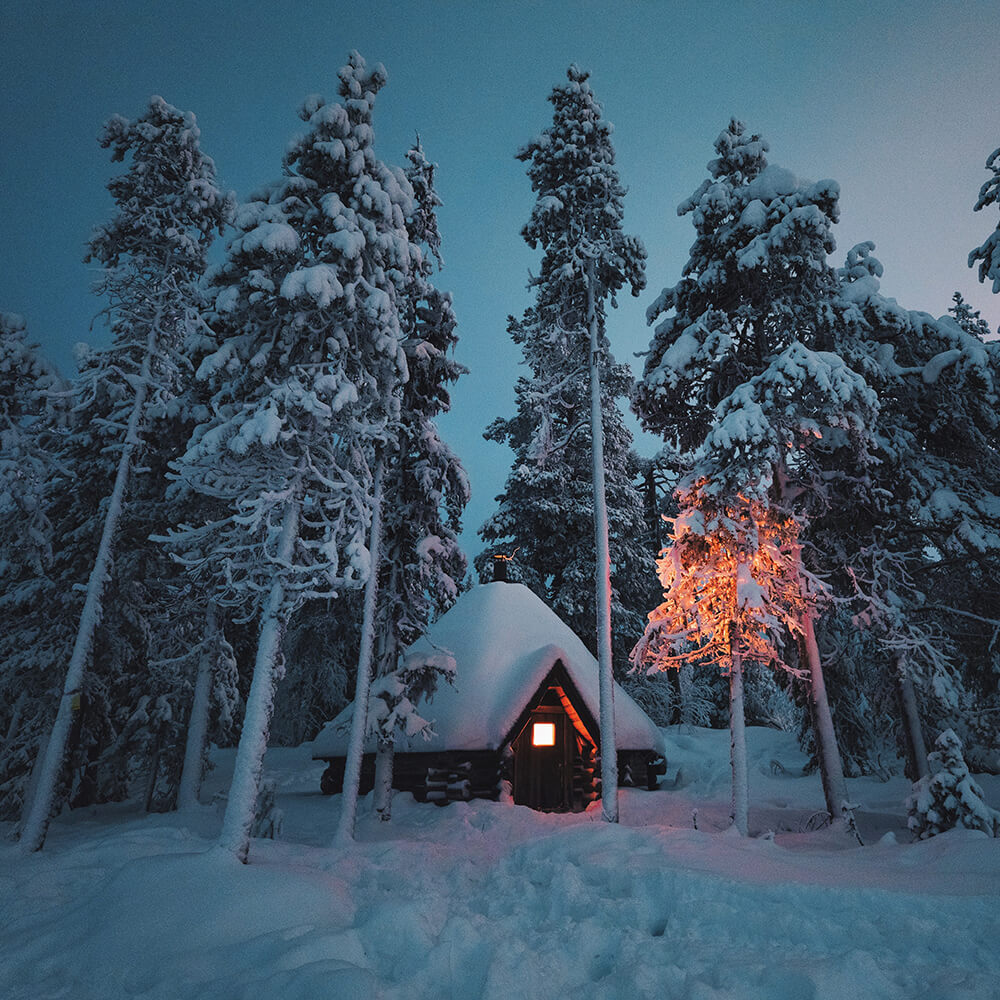Image of a hut and deep blue sky in a Finnish forest. Shot by Elaine Li