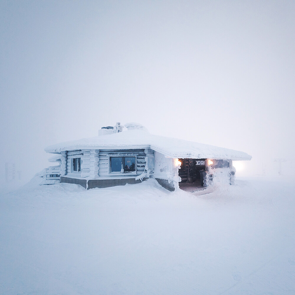 A house under the snow in Finland. Shot by Elaine Li