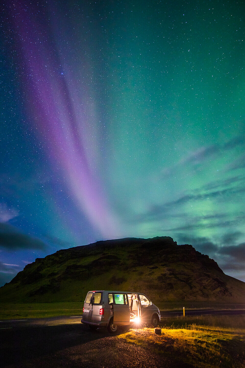 photography of a van under the Northern Lights. Image by Steph Vella