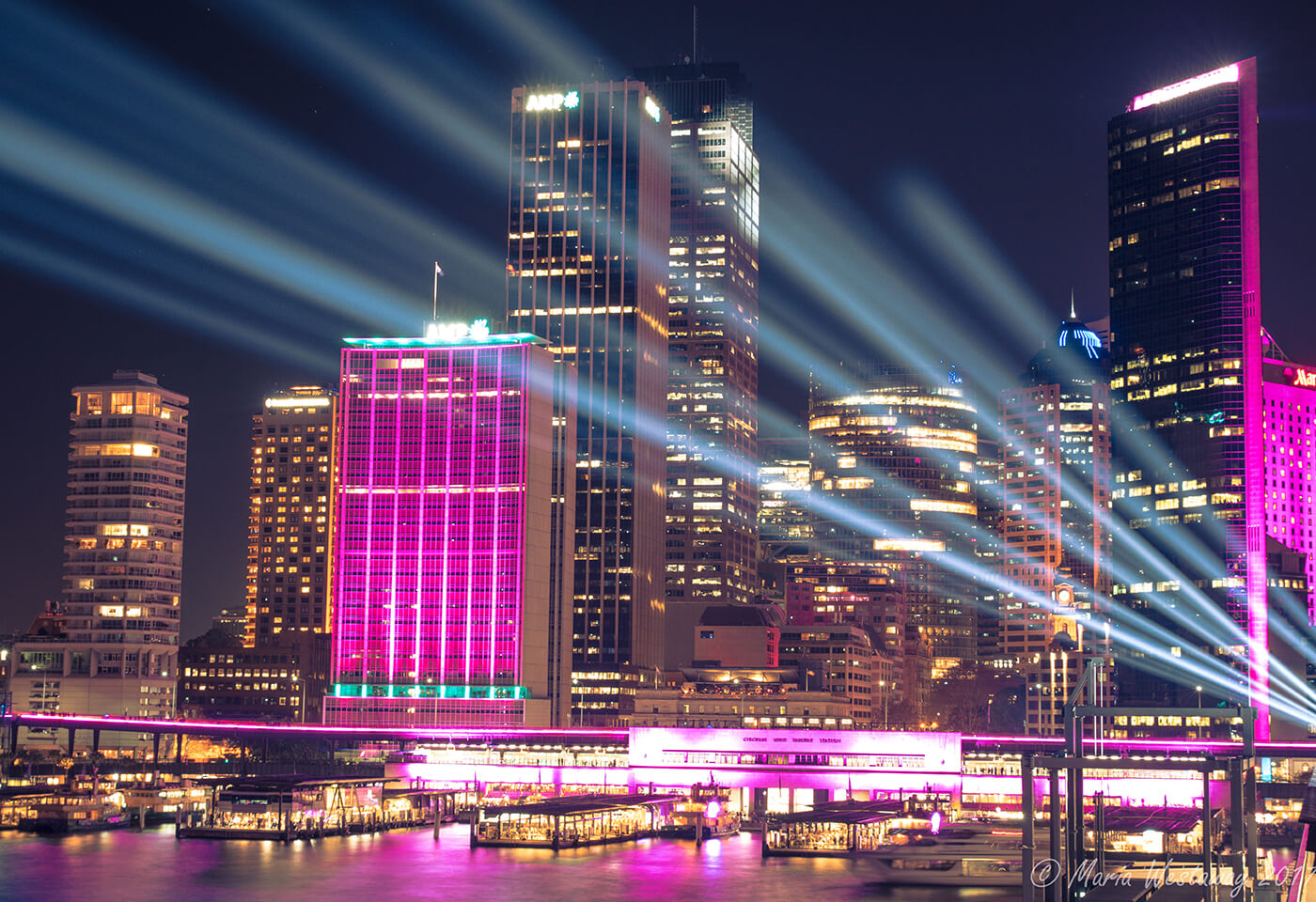 Night image of Sydney CBD taken during Vivid