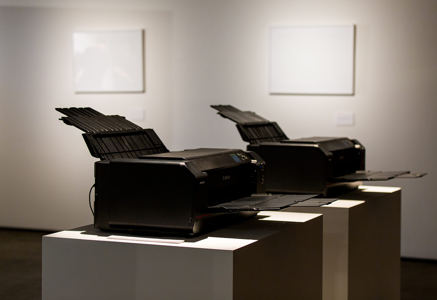Image of two printers on display stands