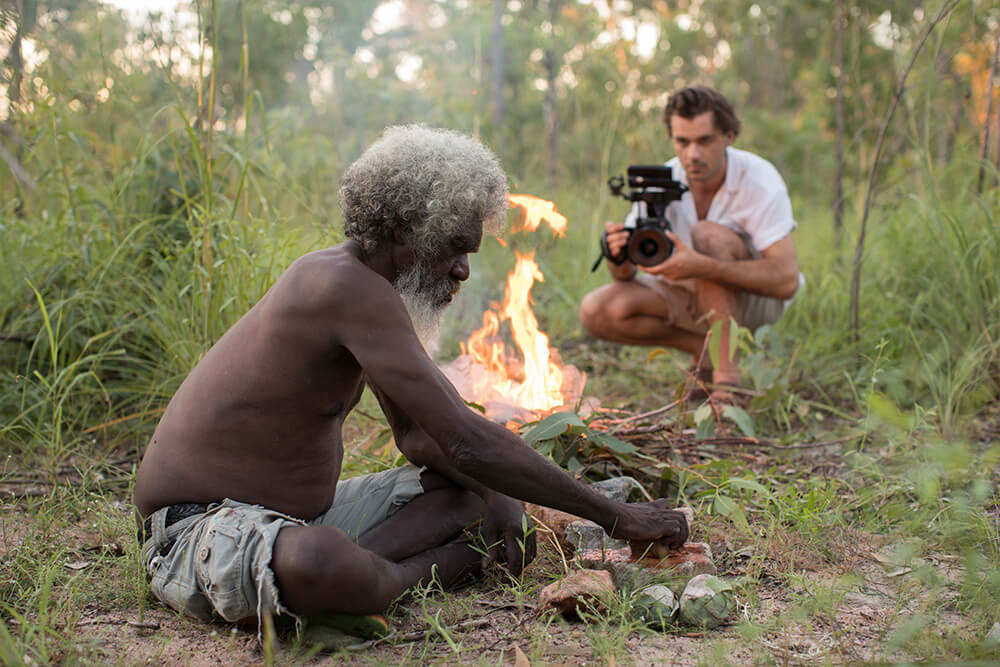 Dylan River photographing a Wardaman person