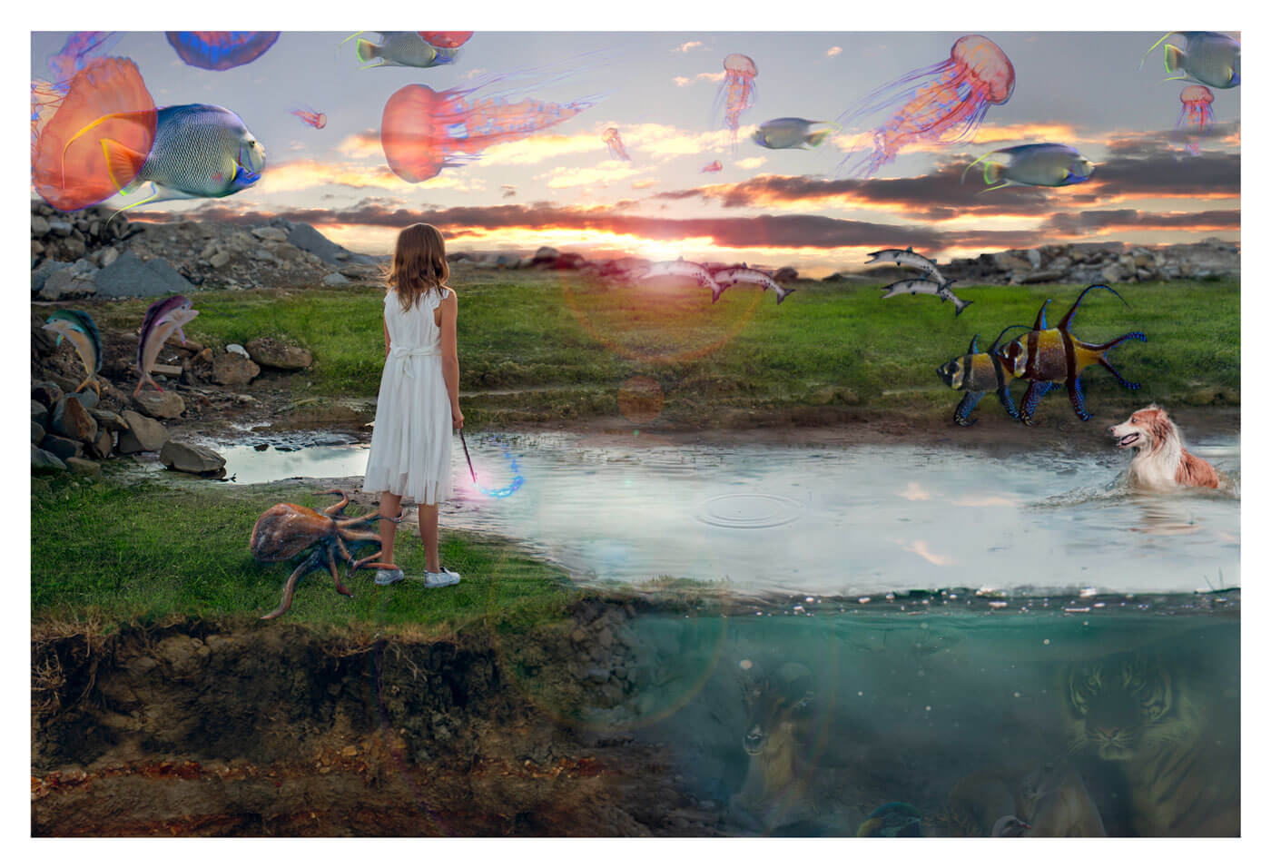 Fantasy image of girl overlooking a pond