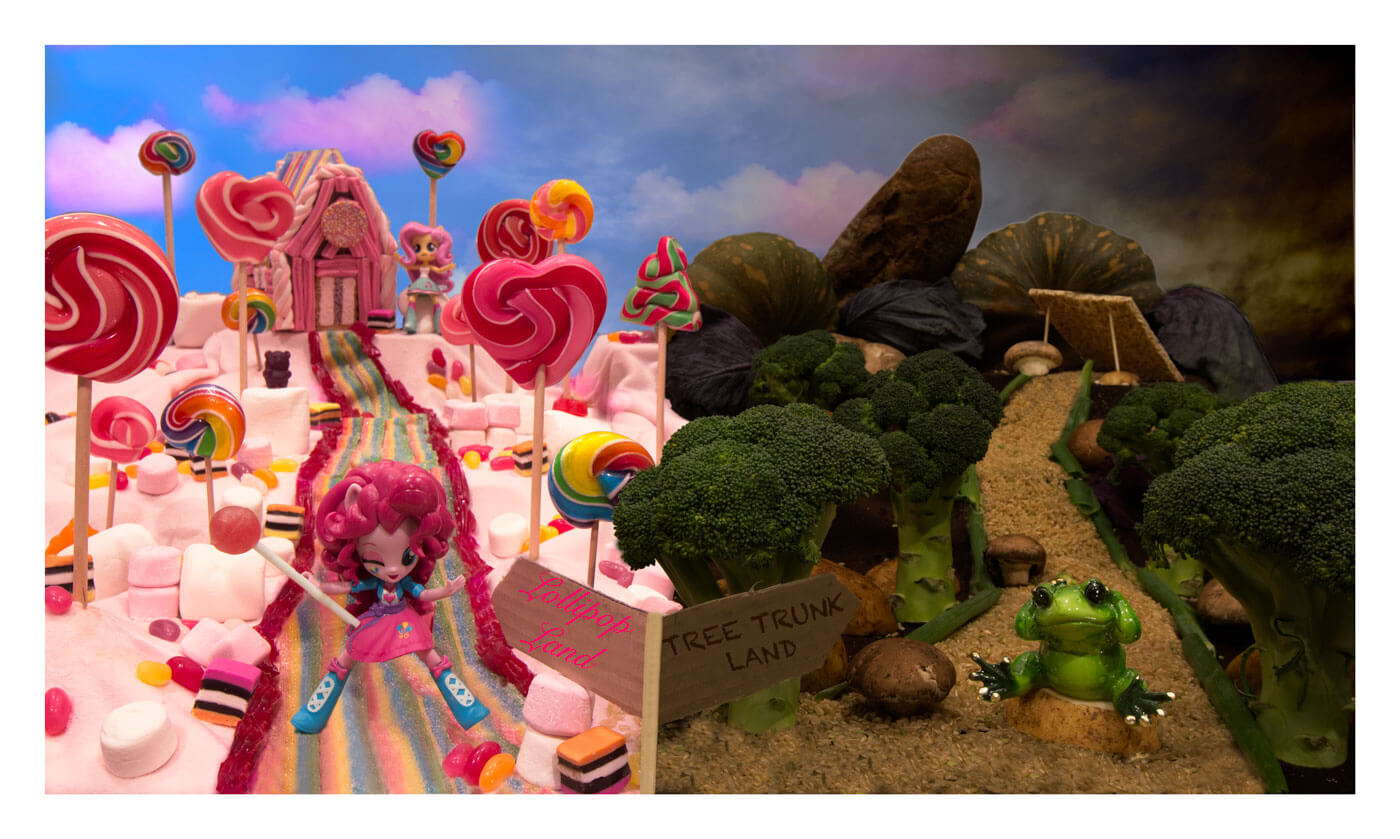Fantasy image of lollies and vegetables