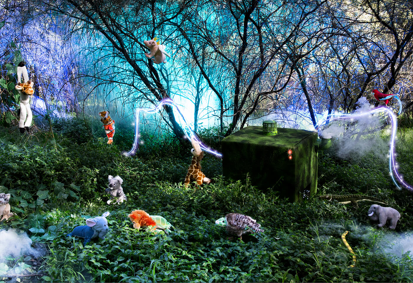 Image of stuffed animals in garden