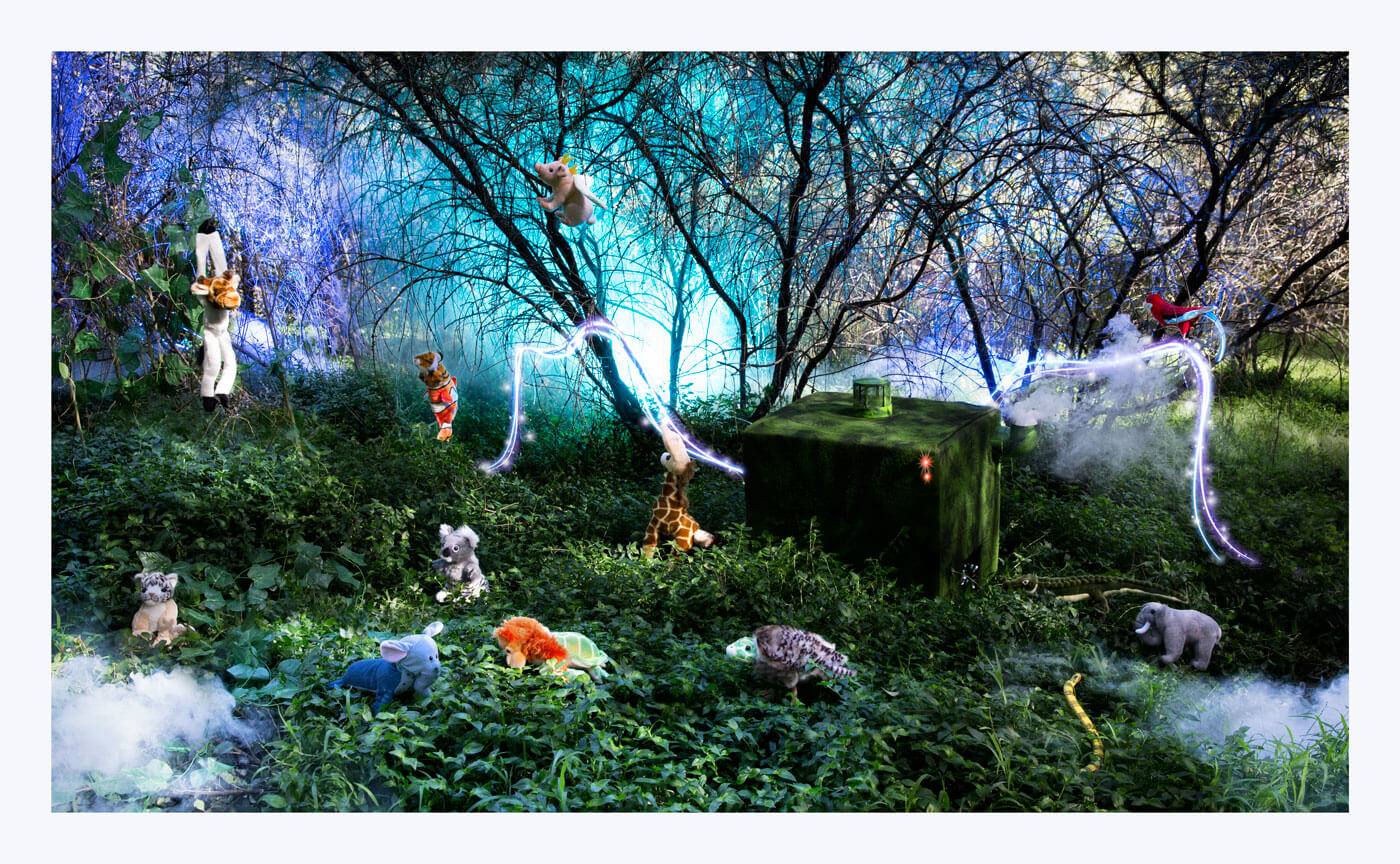Fantasy image of stuffed animals in a garden