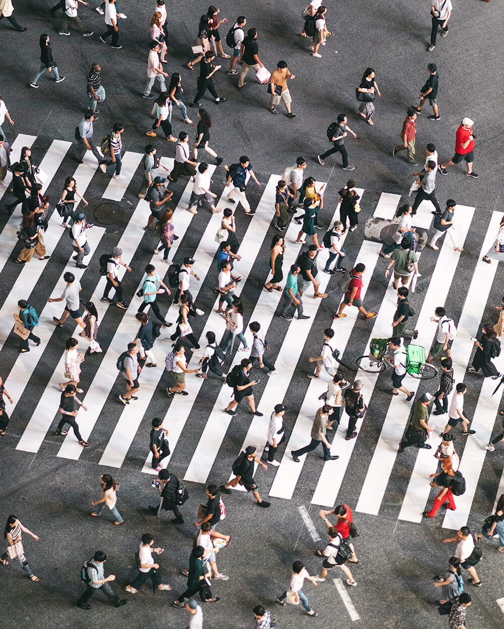 photo of the Shibuya crossing from above