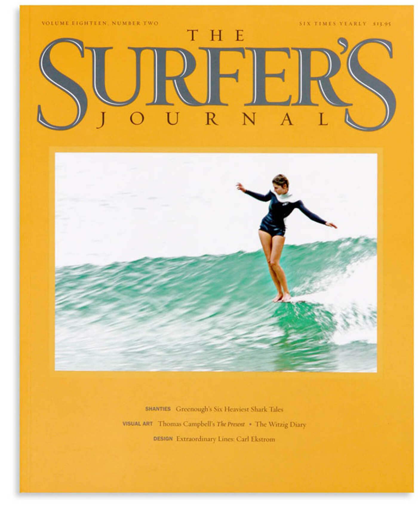 Photo of the first ever woman on the cover of the Surfer's Journal magazine
