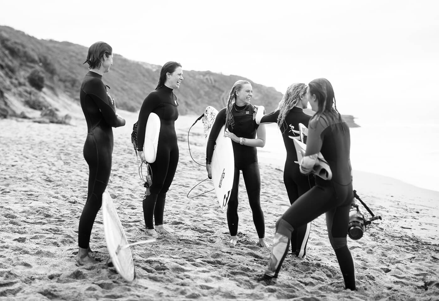 black and white photo of Fran Miller, Macy Callaghan, Sally Fitzgibbons, Brooke Farris and Belinda Baggs by Ed Sloane