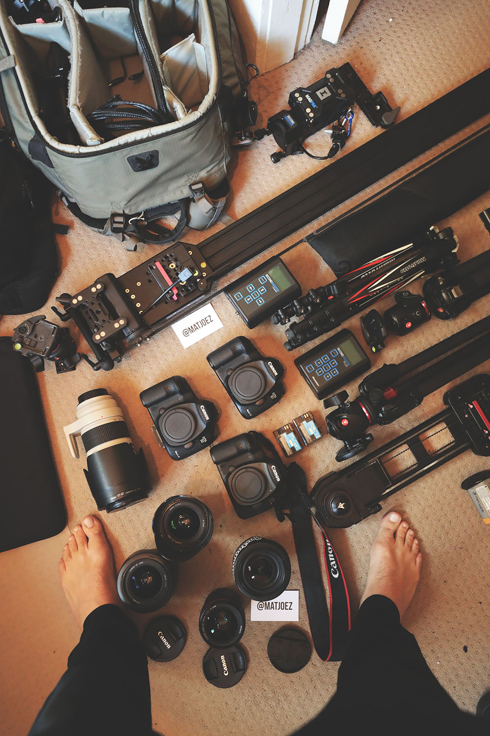 Flat lay of camera gear used for a professional astro photography shot