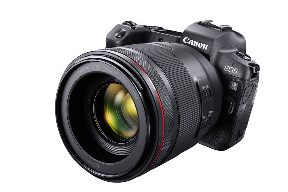Image of the EOS R with RF lens (front view)