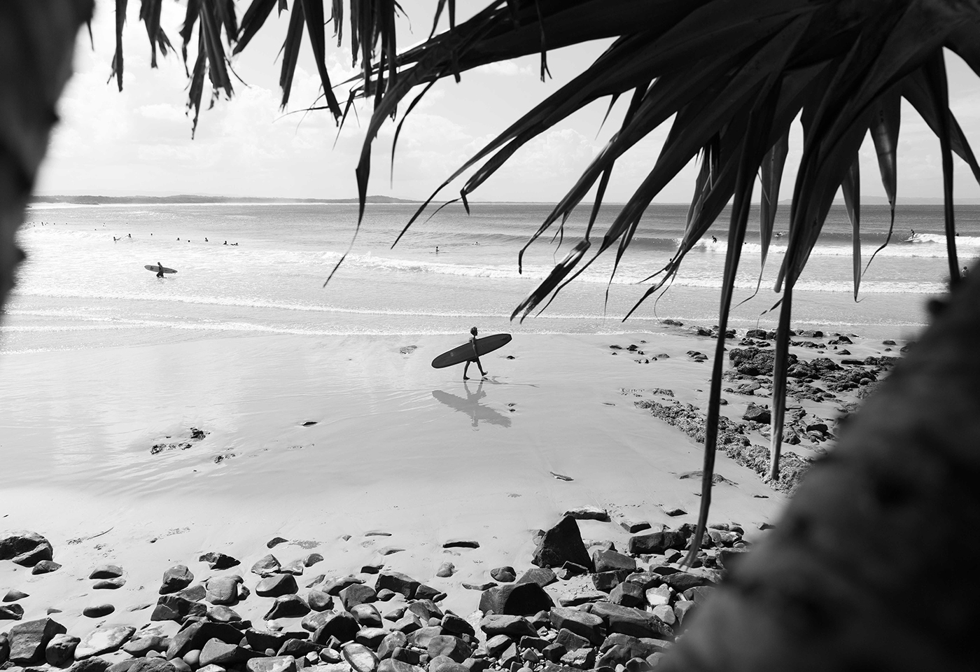 black and white landscape image of Noosa by @miasara
